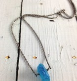 Handmade Silver Necklace with single large raw neon apatite