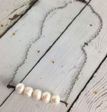 Handmade Silver Necklace with 5 large white pearls on large wire