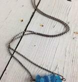 Handmade Silver Necklace with 5 medium raw neon apatite across