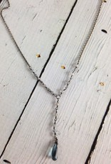 Handmade Silver Necklace with london blue topz briolette, tiny labradorite Y drop