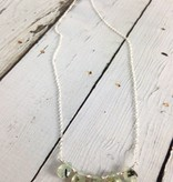 Handmade Silver Necklace with 5 rutilated quartz briolettes, shiny faceted silver between