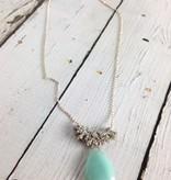 Handmade Silver Necklace with diamonds, large amazonite brio