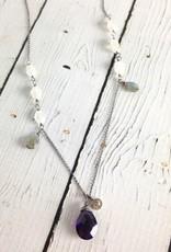 Handmade Silver Necklace with Amethyst, Labradorite, Moonstone