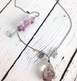 Handmade Silver Necklace with Lodolite, Ametrine chunk row, Moss Aquamarine, Om charm