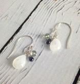 Handmade Silver Earrings with Moonstone, Moss Aquamarine, Alexandrite