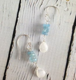 Handmade Silver Earrings with Moonstone, Aquamarine row