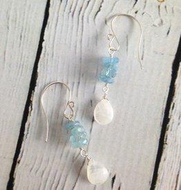 Handmade Silver Earrings with Moonstone, Aquamarine row