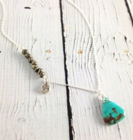 Handmade Silver Necklace with Turquoise, Pyrite, Om charm