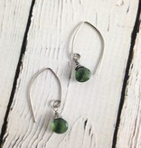 Handmade Silver Earrings with Green Apatite