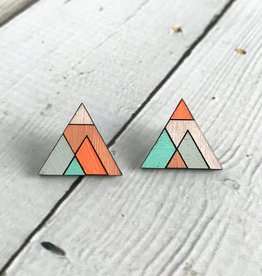 Handmade Painted Birch Triangloid Stud Earrings