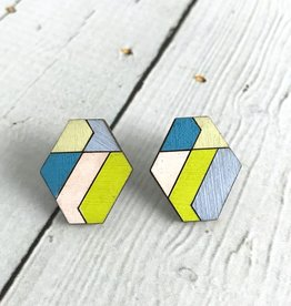 Handmade Painted Birch Hexoid Stud Earrings