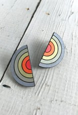 Handmade Sterling Silver Painted Birch Sunset Studs
