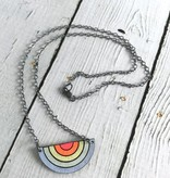 Handmade Painted Birch Sunset Necklace on Sterling Silver Chain