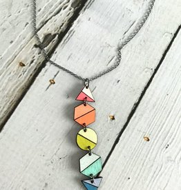 Handmade Painted Birch Shapes Necklace on Sterling Silver Chain