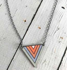 Handmade Painted Birch Dusk Necklace on Sterling Silver Chain