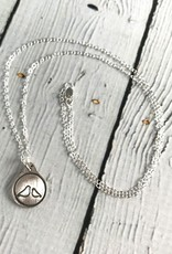 Momma & 1 Baby Bird Charm Necklace, Recycled Oxidized Sterling Silver