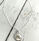 Momma & 2 Baby Bird Charm Necklace, Recycled Oxidized Sterling Silver