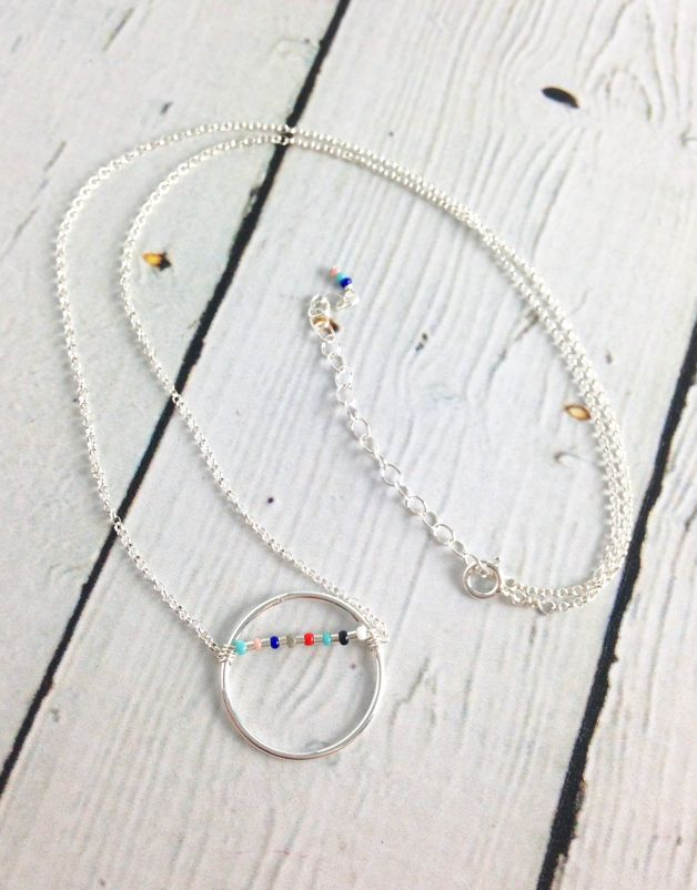Handmade Silver karma beaded smooth open circle necklace