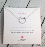 Handmade Silver karma beaded smooth open circle necklace
