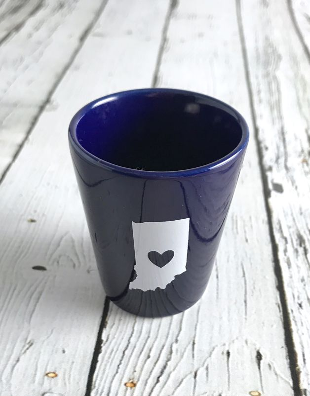 NIckRassi Ceramic Indiana Heart Shot Glass