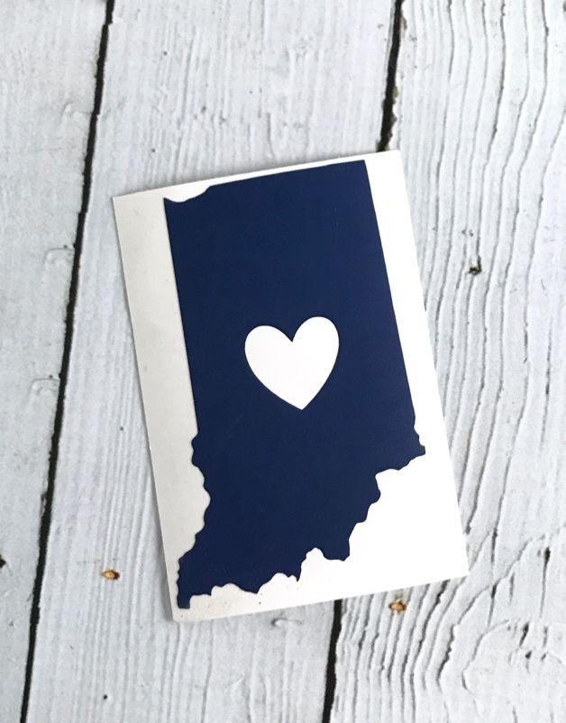 Blue Indiana Heart Cutout Sticker
