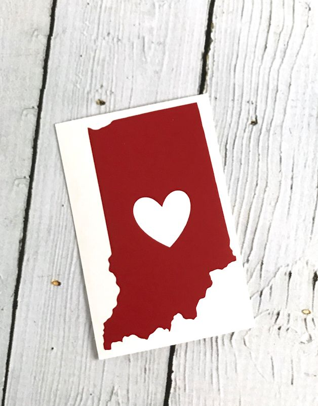 Red Indiana Heart Cutout Sticker