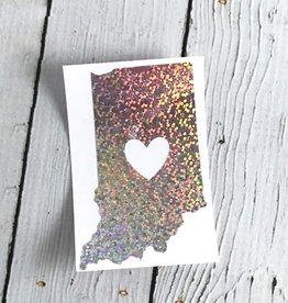 Silver Glitter Indiana Heart Cutout Sticker