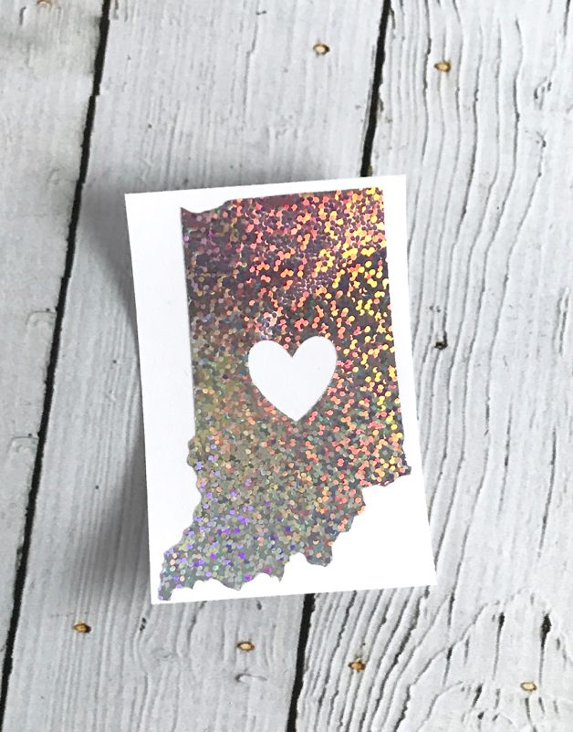 Silver Glitter Indiana Heart Cutout Sticker