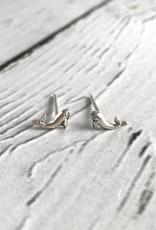 Sterling Silver Whale Stud Earrings