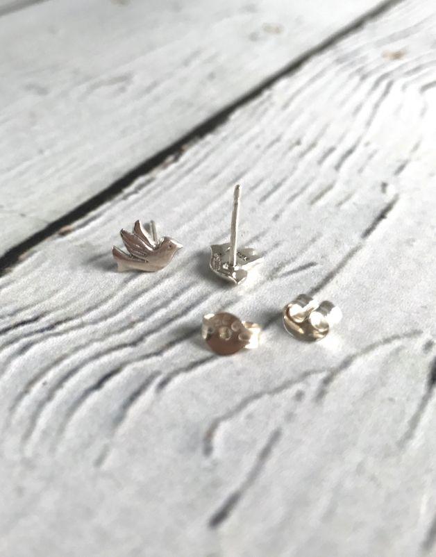Sterling Silver Flying Bird Stud Earrings