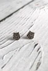 Sterling Silver Oxidized Owl stud Earrings
