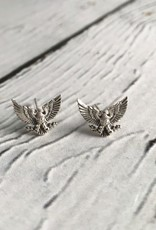 Sterling Silver Patriotic Eagle Stud Earrings