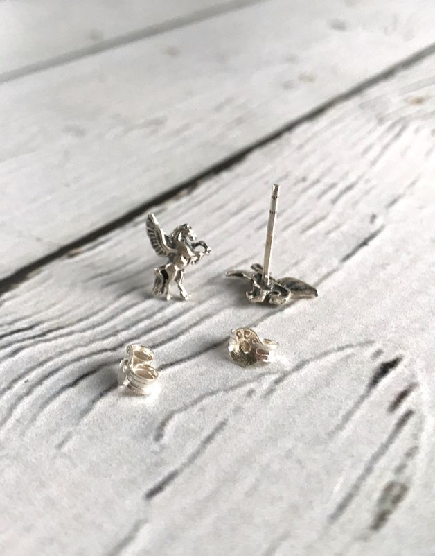 Sterling Silver Pegasus Stud Earrings