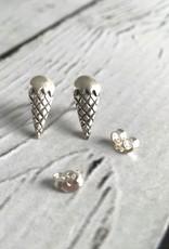 Sterling Silver Ice Cream Cone Stud Earrings