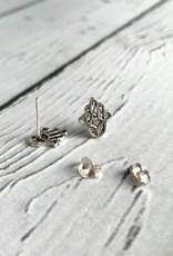 Sterling Silver Hasma Stud Earrings