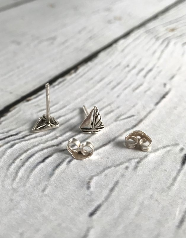 Sterling Silver Sailboat Stud Earrings