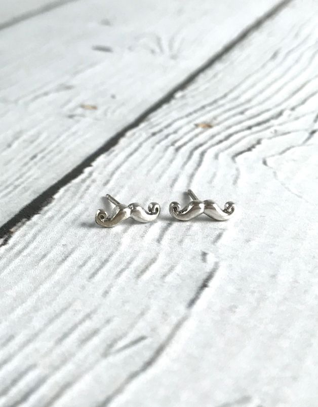 Sterling Silver Mustache Stud Earrings