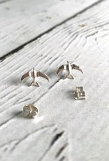Sterling Silver Origami Swallow Stud Earrings