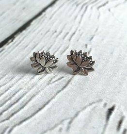 Sterling Silver Lotus Blossom Stud Earrings