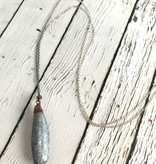 """Kyanite Tumbled 30"""" Satellite Ombre Sterling Chain Necklace"""