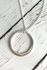 Handmade Sterling Silver Phenomenal Woman Large open Circle Necklace (Maya Angelou series)