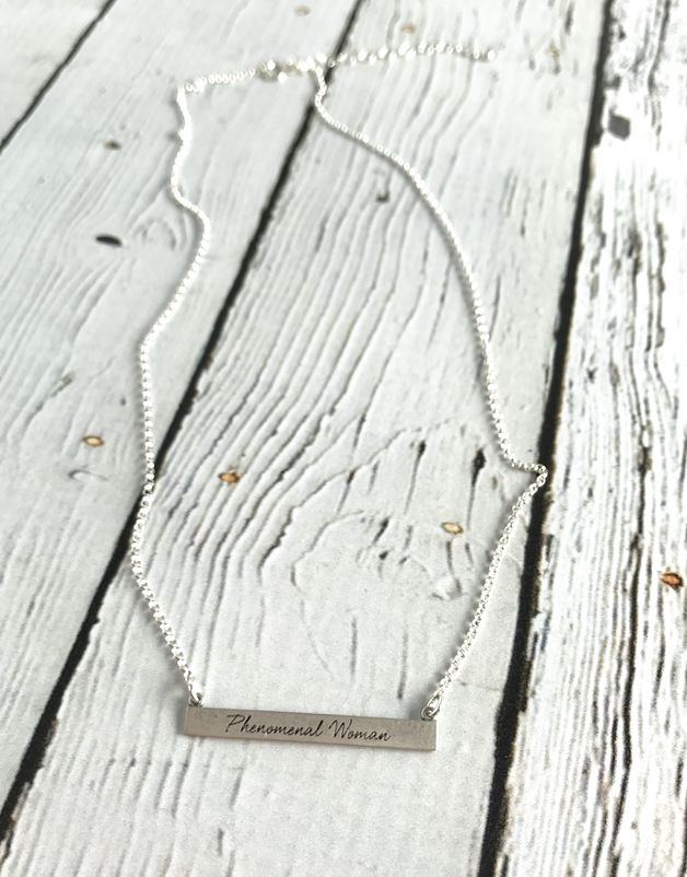 Handmade Sterling Silver Phenomenal Woman ID Bar Necklace (Maya Angelou series)
