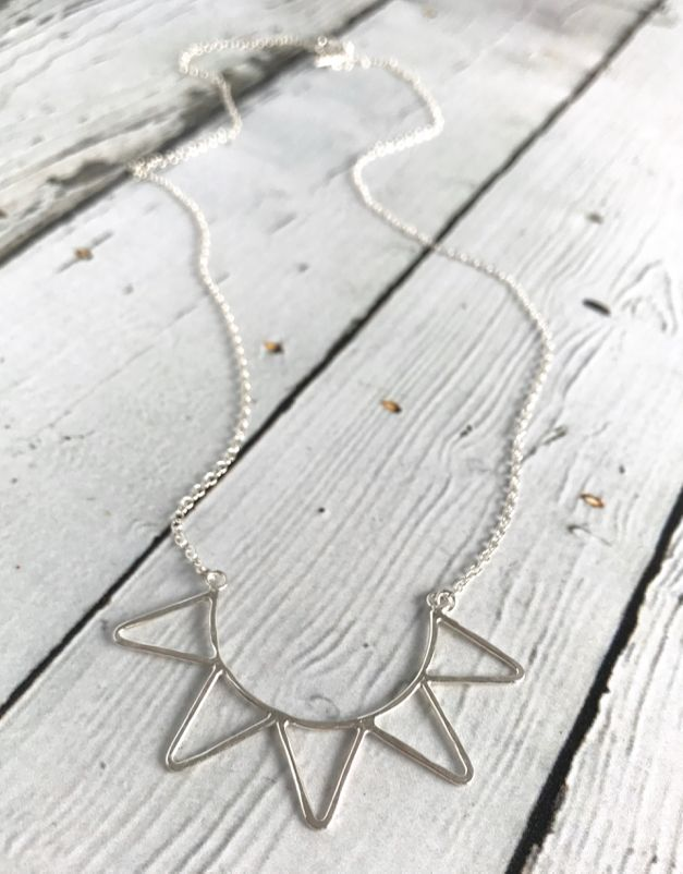 "Sterling Silver ""Ra"" Necklace - hammered half sun"