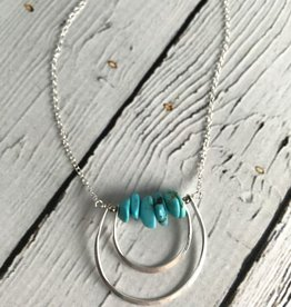 Handmade Sterling Silver Coyote Necklace with Turquoise
