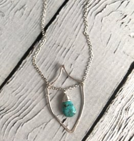 Handmade Sterling Silver Thistle Necklace with Castle Dome Turquoise