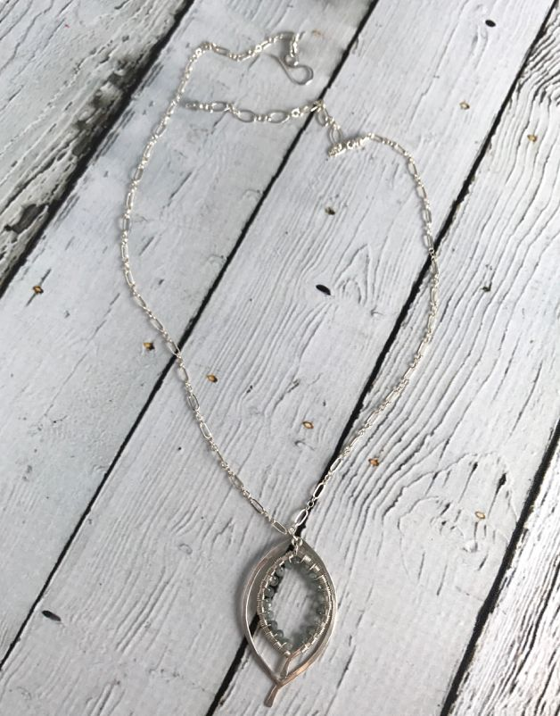 Handmade Shiny Silver Double Leaf Necklace wrapped with Moss Aquamarine