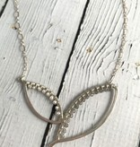 Handmade Oxidized Silver Wing Necklace with Peruvian Opal, Smokey Quartz and Moonstone for ombre effect