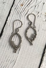 Handmade Oxidized Silver Mini Leaf Earrings with Labradorite