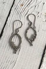 Handmade Oxidized Silver Mini Leaf Earrings with Labradorite
