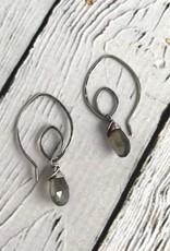 Handmade Oxidized Silver Lotus Earring with Labradorite